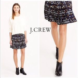 J. Crew Navy Blue Pleated Lattice Mini Skirt